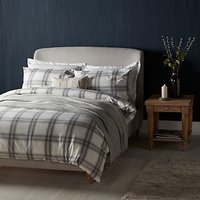 John Lewis Ombre Check Brushed Cotton Duvet Cover and Pillowcase Set, Grey
