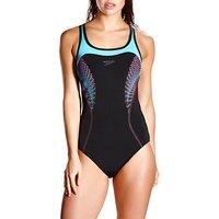 Speedo Fit Kickback Swimsuit, Black/Blue