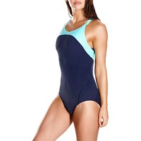 Speedo Fit Power Form Xback Swimsuit, Navy/Green