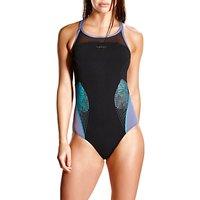 Speedo Fit Splice Xback Swimsuit, Black/Grey