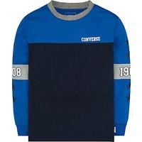 Converse Boys Long Sleeve Colourblock T-Shirt, Obsidian