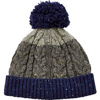 John Lewis Flecked Cable Knit Bobble Hat, Grey/Blue