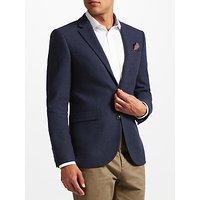 John Lewis Textured Weave Wool Tailored Jacket, Navy