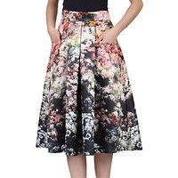 Jolie Moi Floral Print Skirt, Black