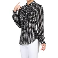 Jolie Moi Chiffon Polka Dot Shirt, Black