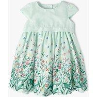John Lewis Baby Dobby Floral Print Dress, Mint