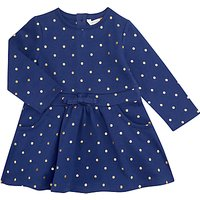 John Lewis Baby Polka Dot Dress, Navy