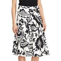 Lauren Ralph Lauren Paisley Print Crepe Skirt, Pearl/Black