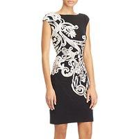 Lauren Ralph Lauren Scroll Print Jersey Dress, Black/Grey