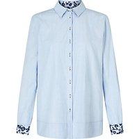 Gerry Weber Contrast Trim Shirt, Bleu Vichy
