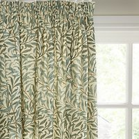 Morris and Co. Willow Bough Pair Lined Pencil Pleat Curtains, Green