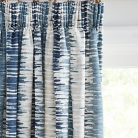 John Lewis and Partners Ikat Pair Lined Pencil Pleat Curtains, Blue