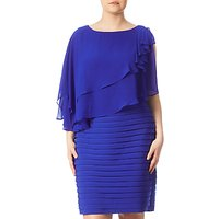 Adrianna Papell Plus Size Rosette Banded Capelet Dress, Cobalt Blue