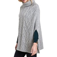 Barbour Court Cable Knit Poncho, Light Grey Marl