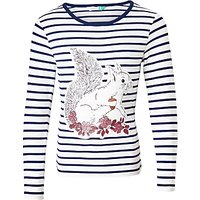 John Lewis Girls Squirrel Stripe T-Shirt, Cream