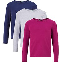 John Lewis Girls Plain T-Shirt, Pack of 3, Medieval Blue