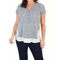 shop for Chesca Stand Collar Print Top, Ivory/Navy at Shopo