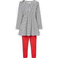 Little Joule Girls Iona Striped Dress and Leggings Set, Navy/Red