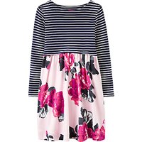 Little Joule Girls Stripe Floral Print Dress, Rose