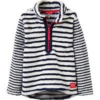Little Joule Girls Dale Stripe Half Zip Fleece, French Navy/White