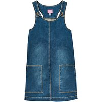 Little Joule Girls Denim Pinafore Dress, Blue
