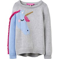Little Joule Girls Unicorn Jumper, Grey