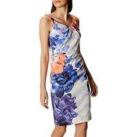 Karen Millen Floral Draped Pencil Dress, Multi