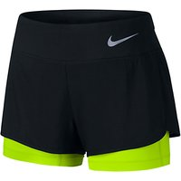 Nike Flex 2-in-1 Running Shorts, Black/Volt