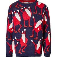 John Lewis Boys' Dancing Santa Knit Jumper, Blue