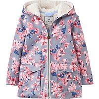 Little Joule Girls Fleece Lined Waterproof Coat, Soft Grey