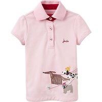 Little Joule Girls Dog Applique Polo Shirt, Rose Pink