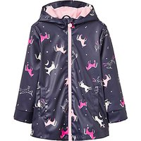 Little Joule Girls Unicorn Rubber Coat, French Navy