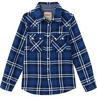 Levis Boys Long Sleeve Check Shirt, Blue