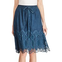 Lauren Ralph Lauren Lace Trim A-Line Skirt, True Indigo