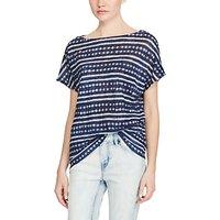 Lauren Ralph Lauren Tie-Dye Linen T-Shirt, Navy/White