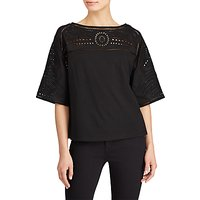 Lauren Ralph Lauren Eyelet Embroidered Top, Polo Black