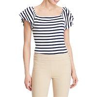 Lauren Ralph Lauren Off The Shoulder Stripe Jersey Top, True Indigo/White