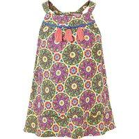 Fat Face Girls Giraffe Tile Woven Vest Top, Khaki/Multi