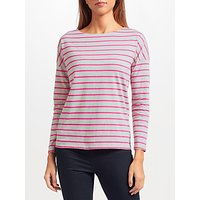 Collection WEEKEND by John Lewis Cotton Drop Sleeve Stripe Top, Grey/Pink