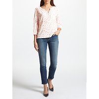 Pyrus Grace Printed Silk Blouse, Coral Stars
