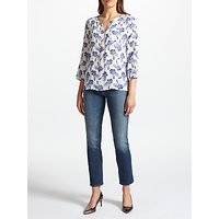 Pyrus Grace Printed Silk Blouse, White Cobalt Palm