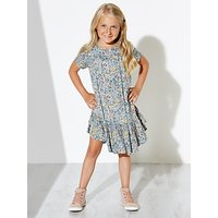 Wheat Girls Floral Printed Dress, Navy