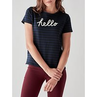 People Tree Hello Stripe T-Shirt, Navy
