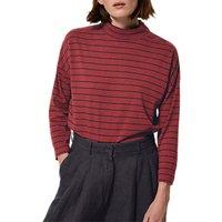 Toast Breton Stripe High Neck T-Shirt, Boysenberry/Navy