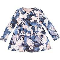 Angel & Rocket Kitty Abstract Printed Peplum Dress, Blue/Multi