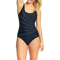 Zoggs Renaissance Piped Scoopback Swimsuit, Black/Pink