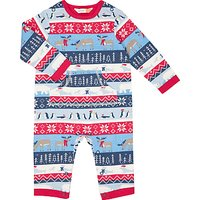 John Lewis Baby Christmas Fairisle Print Romper, Blue