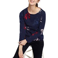 Joules Harbour Long Sleeve Printed Jersey Top, French Navy Fay Floral