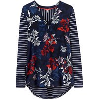 Joules Beatrice Long Sleeve Print Stripe Top, French Navy Floral