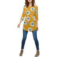 Joules Felicia Long Sleeve Printed Tunic Top, Antique Gold Peony